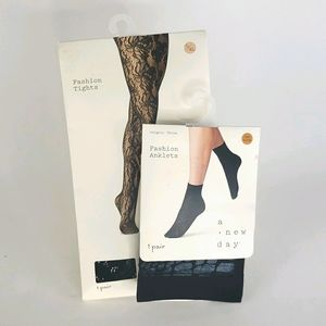Lot of 2 NWT Lace Fashion Tights and Anklets Socks